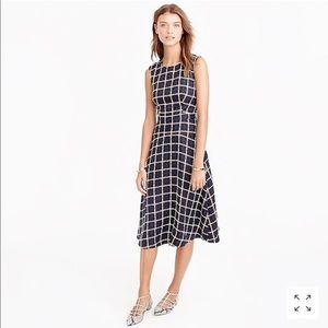 J. Crew A-Line Dress in Silk Windowpane Print EUC